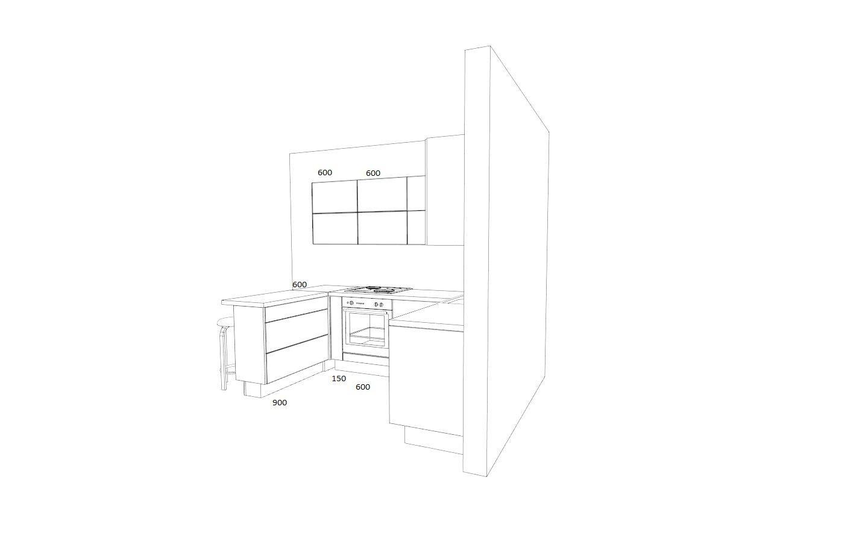 П-образная кухня с крашенными фасадами - 130.000 руб.