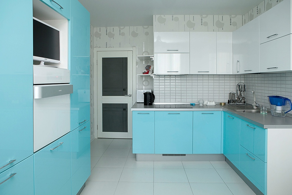 Кухня серый низ белый верх глянец
