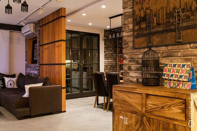 Дизайн кухни-гостиной с выходом на балкон в стиле лофт на 33,6 кв.м