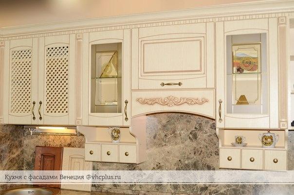 """Кухня с патинированными фасадами, пленка """"Ваниль"""", Бежевая патина (ВХЦ)"""