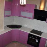 """Кухня с фасадами МДФ ПВХ """"Металлик Фиолетовый"""""""