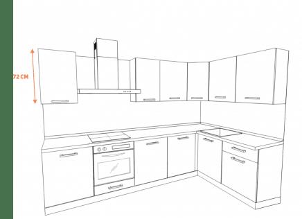 Белая кухня в скандинавском стиле без ручек с островом