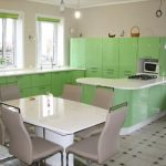 Кухня Модерн с фасадами Р4, пленка Салатовый металлик (ВХЦ)