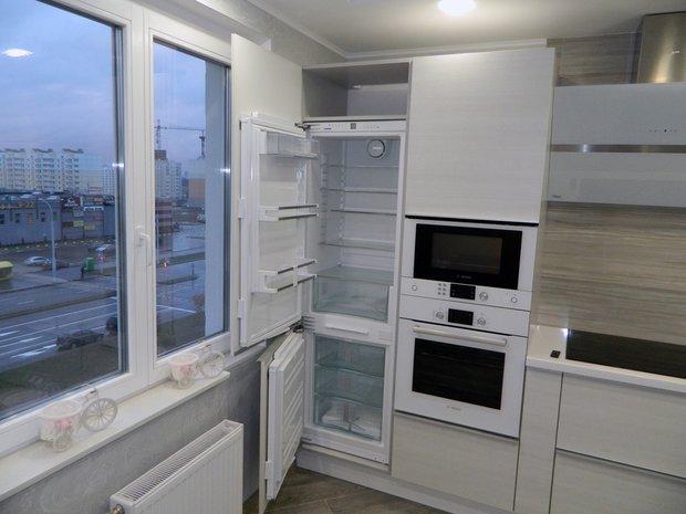 Современная кухня из пластика ARPA с подсветкой внутри столешницы