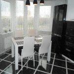 """Кухня с фасадами МДФ эмаль """"Черно-белый глянец"""""""