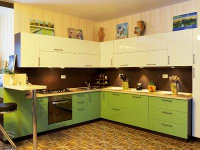 Кухня с пленочными фасадами GREEN SKIN