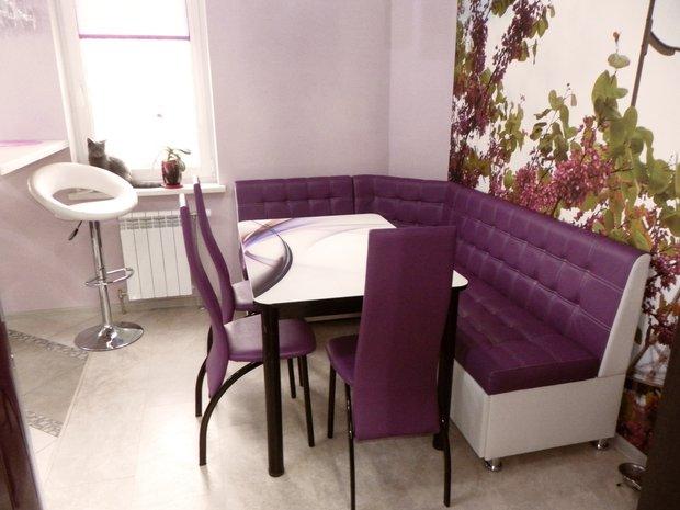 фиолетовая мебель на кухне