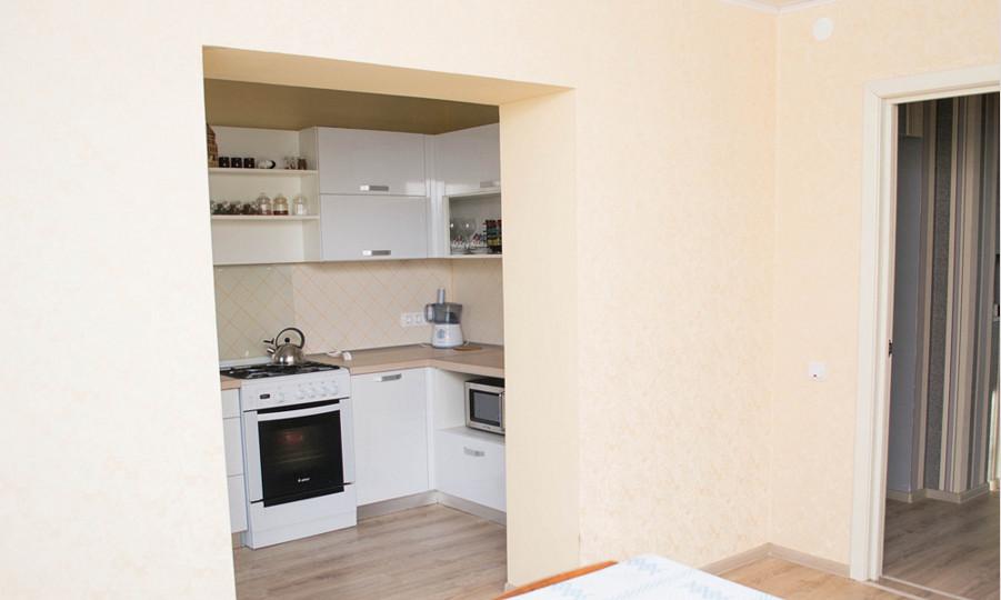 вид кухни с гостиной